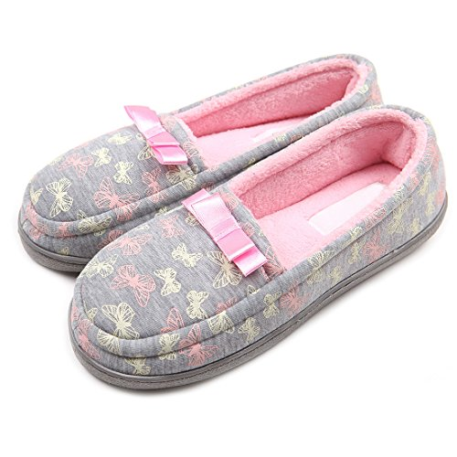 ChicNChic Women Comfort Cotton Warm Indoor Slippers Non Slip Soft Sole Loafers House Shoes (8-8.5 B(M)US, Multicolor-Terry)