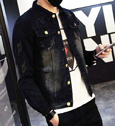 Collar Black Mens Pocket Wash Denim Jackets Oversized Down Vintage Turn Mogogo 6qI71xpI