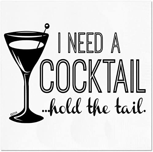 """Funny Napkins - I NEED A COCKTAIL.HOLD THE TAIL - Boutique Cocktail Napkins, 5""""X5"""", Pack Of 20 Party Napkins"""