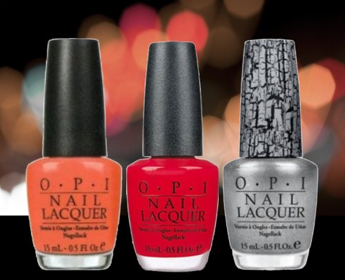 OPI - Hot & Spicy, Big Apple Red, Silver Shatter (Pack of 3)