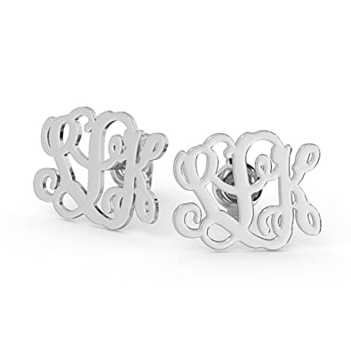 af9835051 Amazon.com: Ouslier 925 Sterling Silver Personalized Stud Monogram Earrings  Custom Made with 3 Initials (Silver): Jewelry