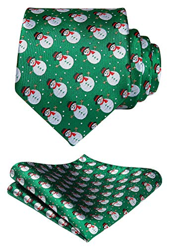 HISDERN Men's Christmas Tie Snowman Woven Party Necktie & Pocket Square Set