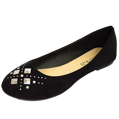 f2d30c34be7 Ladies Flat Black Slip-On Comfy Work School Shoes Dolly Ballet Pumps Sizes  3-