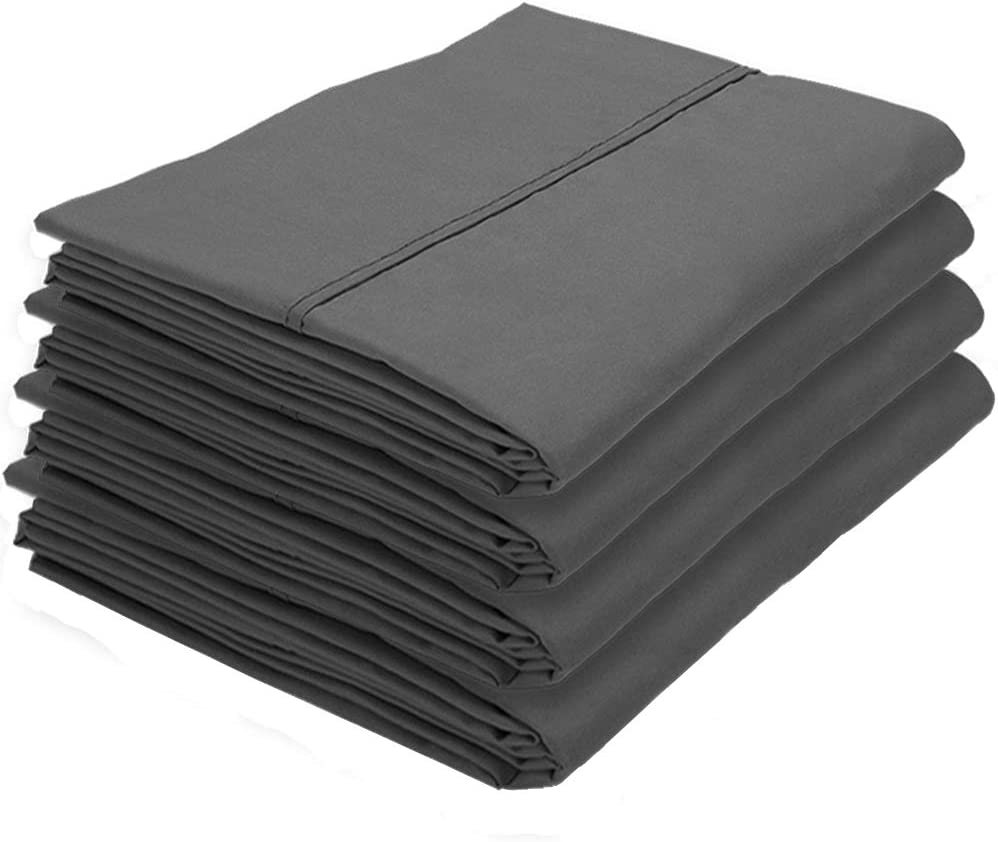 Bare Home 4 Pillowcases - Premium 1800 Ultra-Soft Collection - Bulk Pack - Double Brushed - Hypoallergenic - Wrinkle Resistant - Easy Care (King - 4 Pack, Grey)