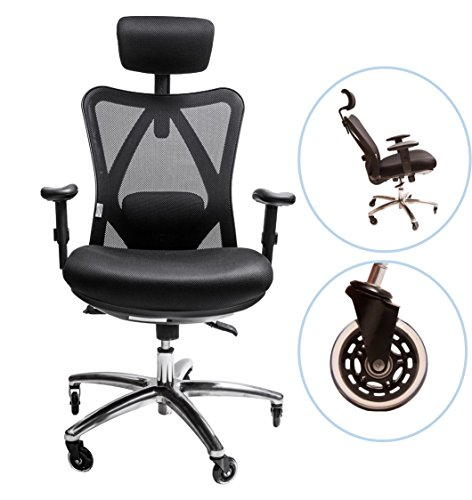 Sleekform Ergonomic Adjustable Office Chair With Lumbar Support and Rollerblade Wheels - High Back With Breathable Mesh - Thick Seat Cushion - Adjustable Head & Arm Rests, Seat Height - (Ergo Task Chair)