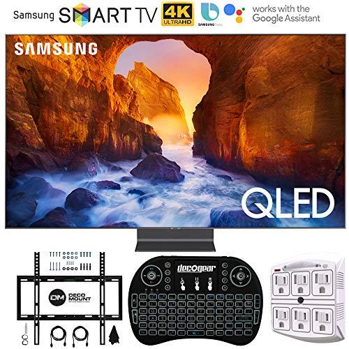 Samsung QN82Q90RA 82″ Q90 QLED Smart 4K UHD TV (2019 Model) – (Renewed) with Flat Wall Mount Kit Bundle for 45-90 TVs + 2.4GHz Wireless Backlit Keyboard Smart Remote + 6-Outlet Surge Adapter