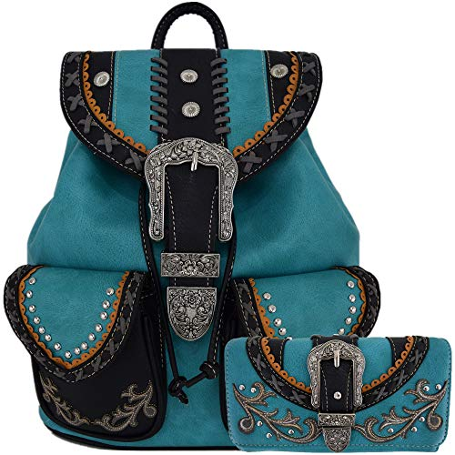 Buckle Women Country Backpack School Bag Concealed Carry Daypack Biker Purse Wallet (Turquoise Set) ()