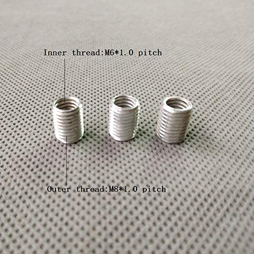 Maslin M6 to M8 Inner and Outer Threaded Hollow Tube Adapter Inner Outer Threaded Coupler Conveyer Adapter - (Color: Zinc Plating, Size: M6 to m8 Pitch1.0, Thread Specification: 10 Pieces) ()