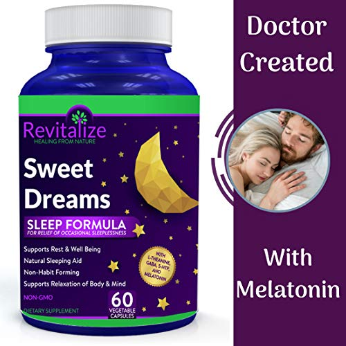Melatonin Sleep Supplement with GABA, 5-HTP, L-Theanine - Sweet Dreams - All Natural for Restful Sleep by Dr. Valerie Nelson