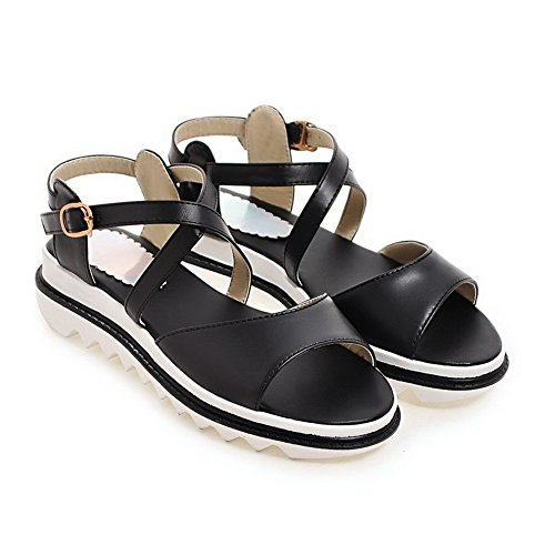 AN Womens Non-Marking Cold Lining Mini-Size Urethane Platforms Sandals DIU01013 Black Q2BRLDrNhr