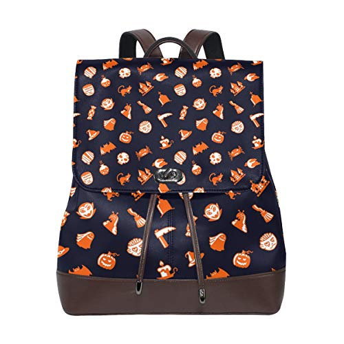 Leather Halloween Skull Orange Backpack Daypack Bag Women ()