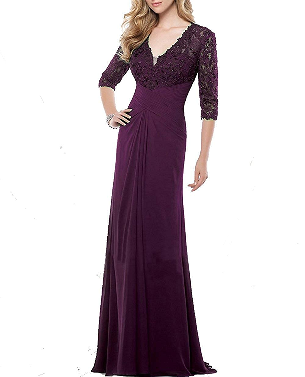 DressyMe Womens Grace Evening Dresses 1//2 Sleeves V-Neck A-Line Lace Prom Dress