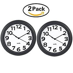 HIPPIH Silent Wall Clock - 10 Inch Battery Operated Round Clock - Easy to Read for Home/Office/School,2 Pack