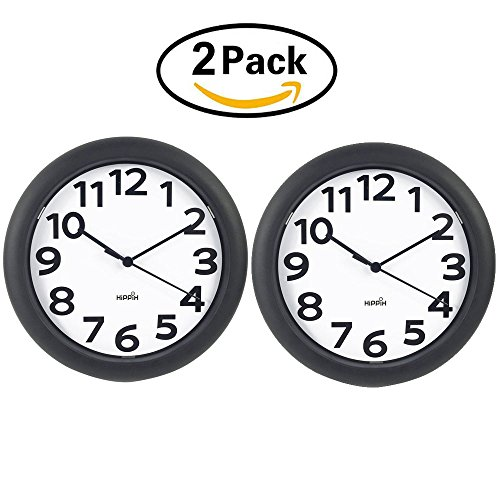HIPPIH Silent Wall Clock - 10 Inch Battery Operated Round Clock - Easy to Read for Home/Office/School,2 Pack (Plastic Wall Clock)