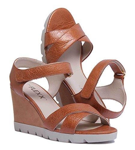 Das Leather aus Los Cognac Tan Matt Golden Womens Flexx Sandal HwHfqxp1