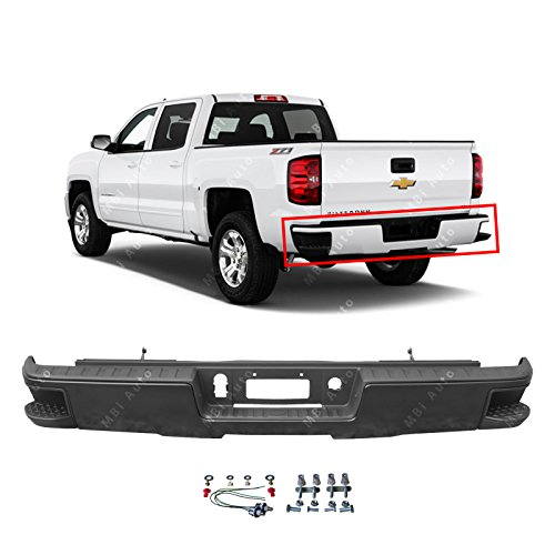 MBI AUTO - Primered, Steel Rear Bumper for 2014-2018 Chevy Silverado & GMC Sierra 1500 W/Out Park 14-18, GM1103177