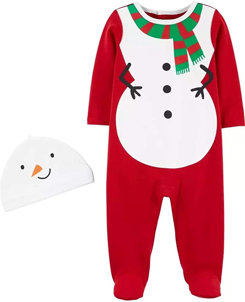 Carter's Baby 2-Piece Snowman and Reindeer Coverall & Hat Set for Christmas (Christmas White/red, 6 Months)