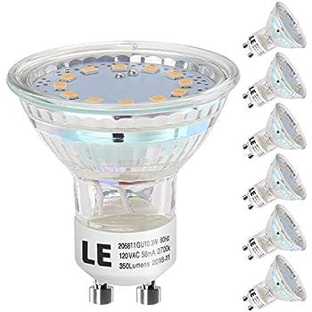 LE GU10 LED Bulbs, 50W Halogen Bulbs Equivalent, 3W, 350lm, 120° Beam Angle, MR16, LED Light Bulbs, Pack of 6 Units (Warm White)