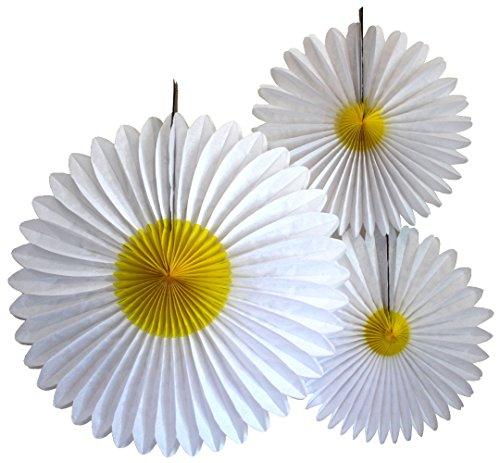 3-Piece Daisy Flower Fan Decorations (13-20 Inch) -
