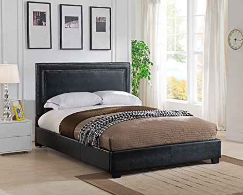 Mantua Baffin Upholstered Platform Bed, Queen, Black, BAN50TBL
