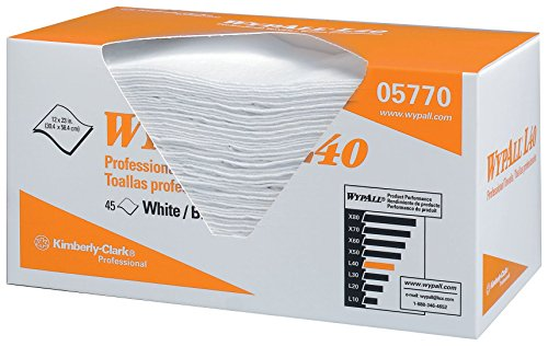 """WypAll L40 Disposable Cleaning and Drying Towels """"DRY-UP"""" Towels (05770), Limited Use Towels, 12"""" x 23"""", White, 540/Case, 12 Packs of 45 Towels"""