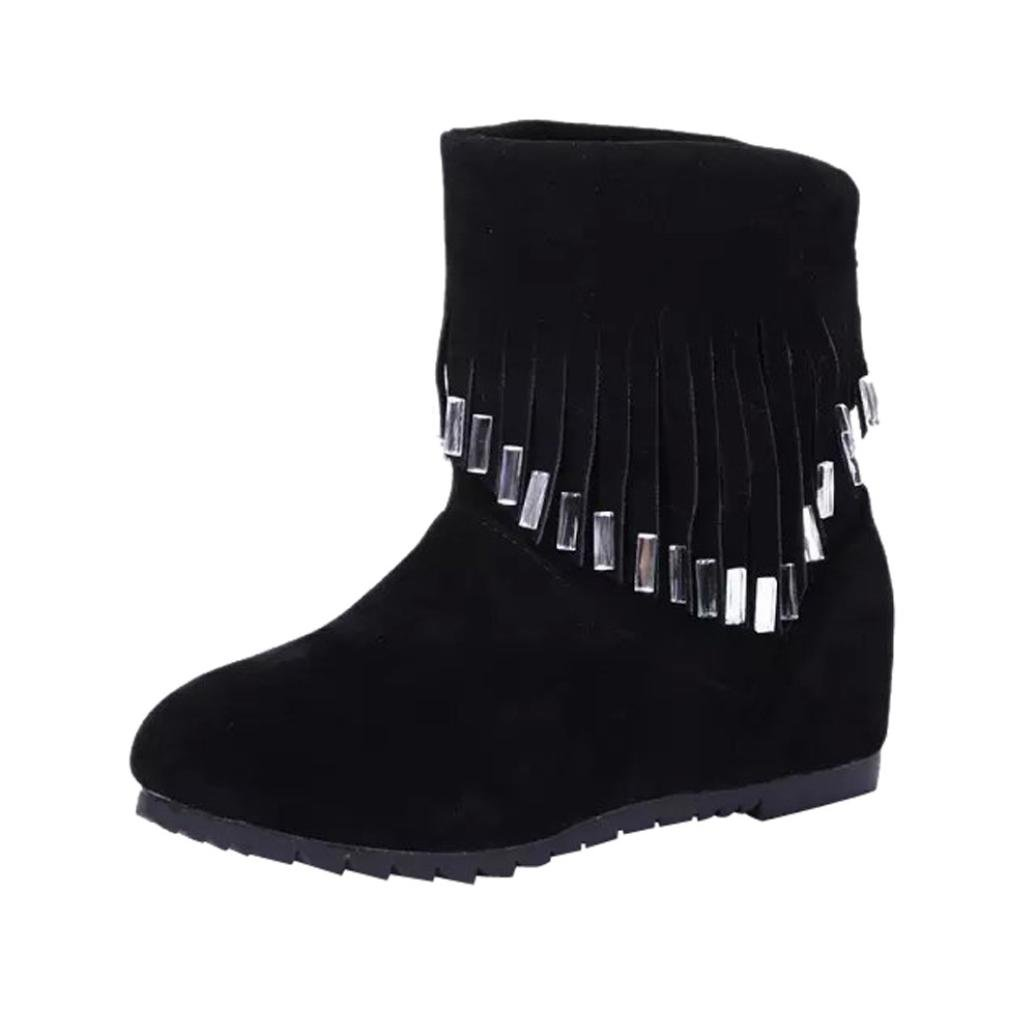 Womens Winter Boots | Fashion Ladies Tassel Slip-On Ankle Booties | Slouchy Snow Boots Martin Flat Shoes (Black, 38/US:7)