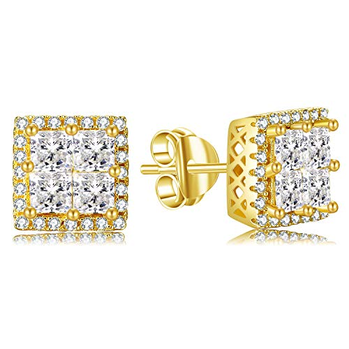 Lanroque 14k Gold Sterling Silver Square Layered Diamond Cubic Zirconia Earrings for Men and Women