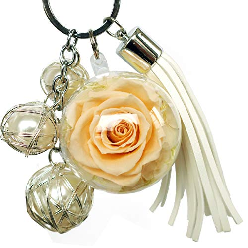 (preserved real rose in a acrylic ball,with 3 pearls and Tassels and Key chain,a Decor for handbag, a perfect Gift for Sister, Girls, Mother's Day, Valentine's Day, Anniversary, Birthday)