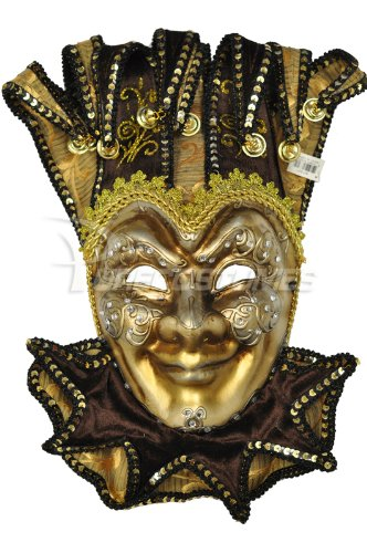 Majestic Mardi Gras Mask - Pure Seasons Majestic Jester Mask (Brown)-Standard