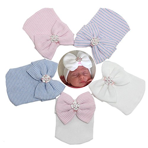 Gellwhu 1-5pcs Sparkle Gem Newborn Baby Girl Nursery Beanie Hospital Hat With Bow (5 Colors)
