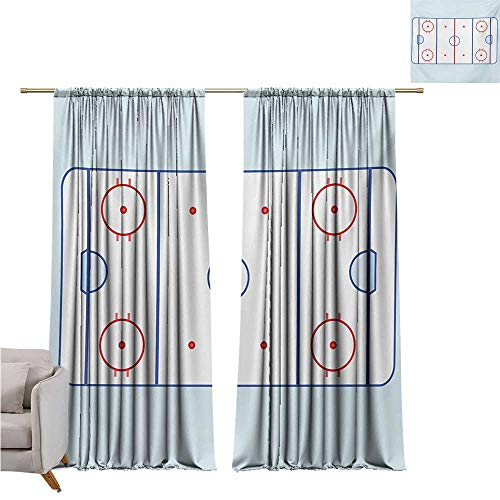 RenteriaDecor Hockey,Door Curtain Panel Home Decoration Ice Hockey Field in Blue Tones and Red Graphic Outline for Sport Events W72 x L84 Blackout Drapes for Baby Bedroom
