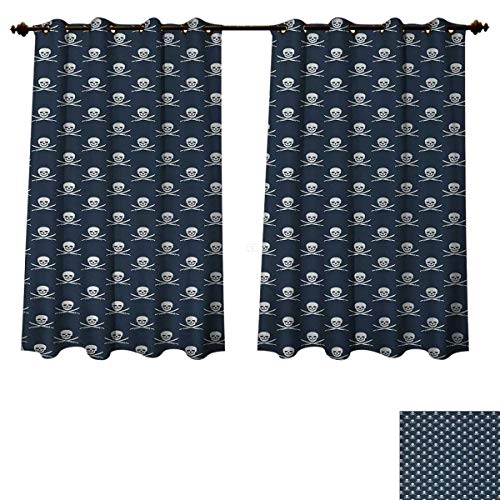 Anzhouqux Pirates Blackout Thermal Curtain Panel Jolly Roger Pattern in Classic Nautical Colors Dangerous Halloween Character Patterned Drape for Glass Door Dark Blue White W63 x L63 inch for $<!--$50.20-->