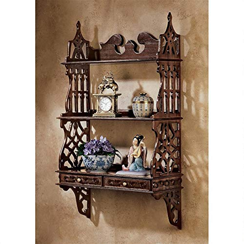 Design Toscano AF8042 Chinese Chippendale-Style Hardwood Curio Shelves, 36 Inches, - Curio Chippendale