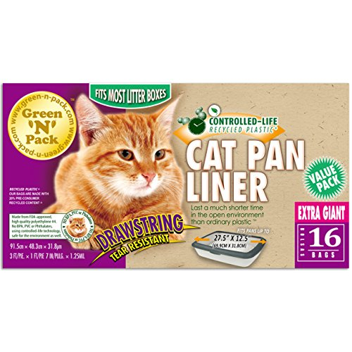 - Green N Pack Extra Large Drawstring Cat Pan Liner, 16-Count