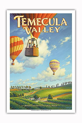 Pacifica Island Art - Temecula Valley Wineries - Riverside County - South Coast AVA Vineyards - California Wine Country Art by Kerne Erickson - Master Art Print - 12in x 18in ()