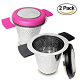 Tea Infusers For Loose Tea | Fine Mesh Infuser | Pack of 2 | Double Handles For Hanging On Teapots Mugs and Cups |To Steep Loose Tea For Hot Tea Or Iced Tea | FDA Approved | 304 Stainless Steel