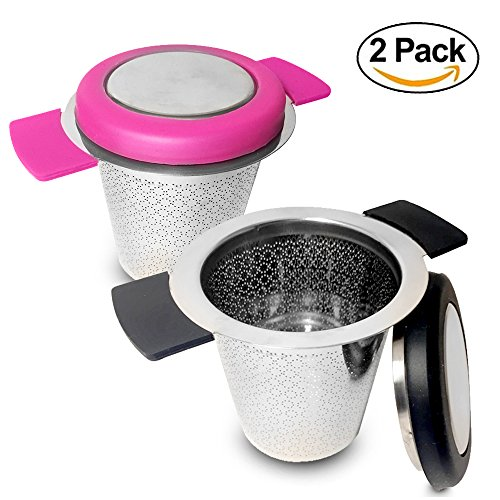 Double Handled Basket - Tea Infusers For Loose Tea Fine Mesh Infuser 2 Pack. Double Handles For Hanging On Teapots Mugs And Cups To Steep Loose Tea For Hot Tea Or Iced Tea. FDA Approved 304 Stainless Steel