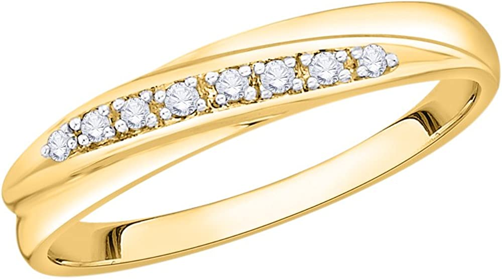 Diamond Wedding Band in 10K Yellow Gold Size-10.25 G-H,I2-I3 1//20 cttw,