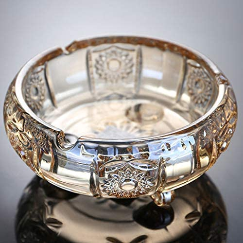 CQ 脚コーヒーテーブルゴールデン灰皿クリエイティブホーム灰皿付きホームスタイルゴールデンガラス灰皿 (Size : M)