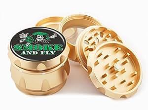 "Smoke & Fly Design Premium Grade Aluminum Tobacco,Herb Grinder -4Pcs Large (2.5"" Gold) # GLD-G50-102215-3"