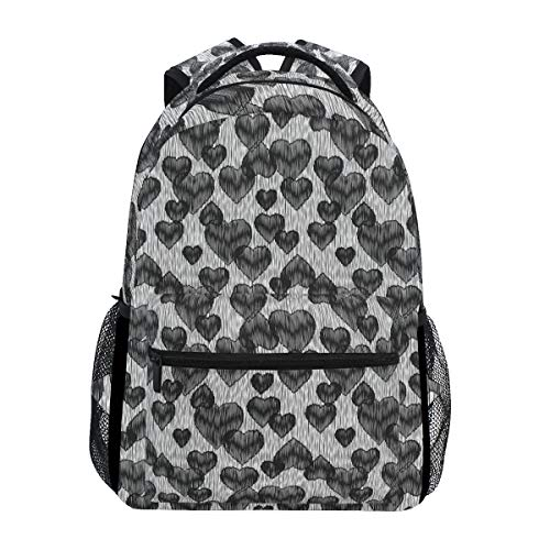 YCHY Gothic Hearts Tattoo Style Valentine's Love Graffiti Grunge Illustration Lightweight School Backpack Students College Bag Travel Hiking Camping Bags