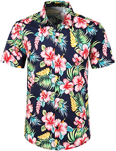(JOGAL Men's Flower Casual Button Down Short Sleeve Hawaiian Shirt Medium A335)
