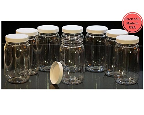 16 Oz Plastic Jars with lids, wide mouth, Bulk Pack of 8, Clear Round Jar & White Lid, High Quality-Made in USA