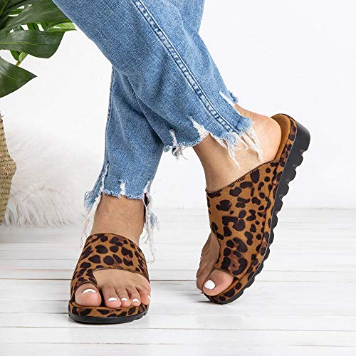XMWEALTHY Womens Wedge Sandals Bunions Corrector Big Toe Platform Wedge Slide Sandals Summer Sandals