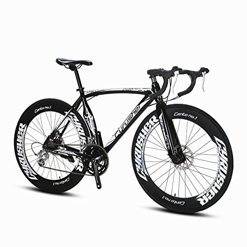 Cyrusher Black Aluminium Frame 54 cm 700C 70MM Mens Road Bike Shimano 2300 14 Speeds Road Bicycle Mechanical Disc Brakes