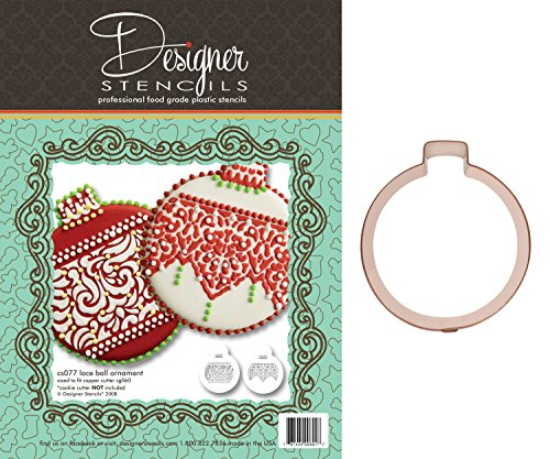 Lace Band Christmas Ball Ornaments Stencil Set and Heirloom Copper Cookie Cutter by Designer Stencils