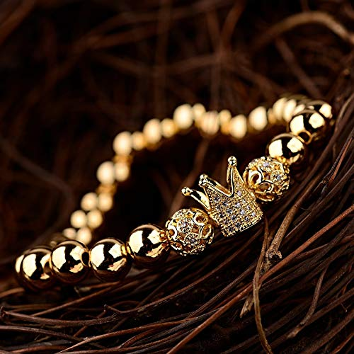ALISETHEL Copper Bracelet for Men Oiquei 2pcs/Set Couple Bracelets for Women Men 2019 Gold 8mm Copper Bead&cz Crown Beaded Charm Bnagles Bracelet Luxury Jewelry by ALISETHEL (Image #4)