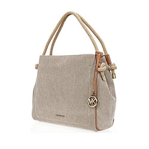Michael Kors Isla Large Canvas Shoulder Bag- Natural ()