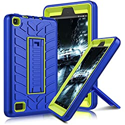 All-New Amazon Fire 7 2017 Case, Elegant Choise Heavy Duty Three Layer High Impact Resistant Rugged Case Cover with Kickstand for Amazon Kindle Fire 7 (7th Generation) 2017 Release (Blue/Yellow)