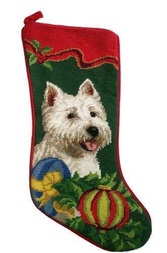 West Highland White Dog Westie Needlepoint Christmas Stocking by ED